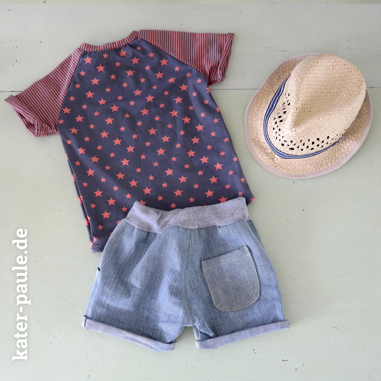 EmJo Summer Set / Shorts + T-Shirt / Sterne / Streifen / Jeans / Jersey / Kater Paule / Nähgedöns