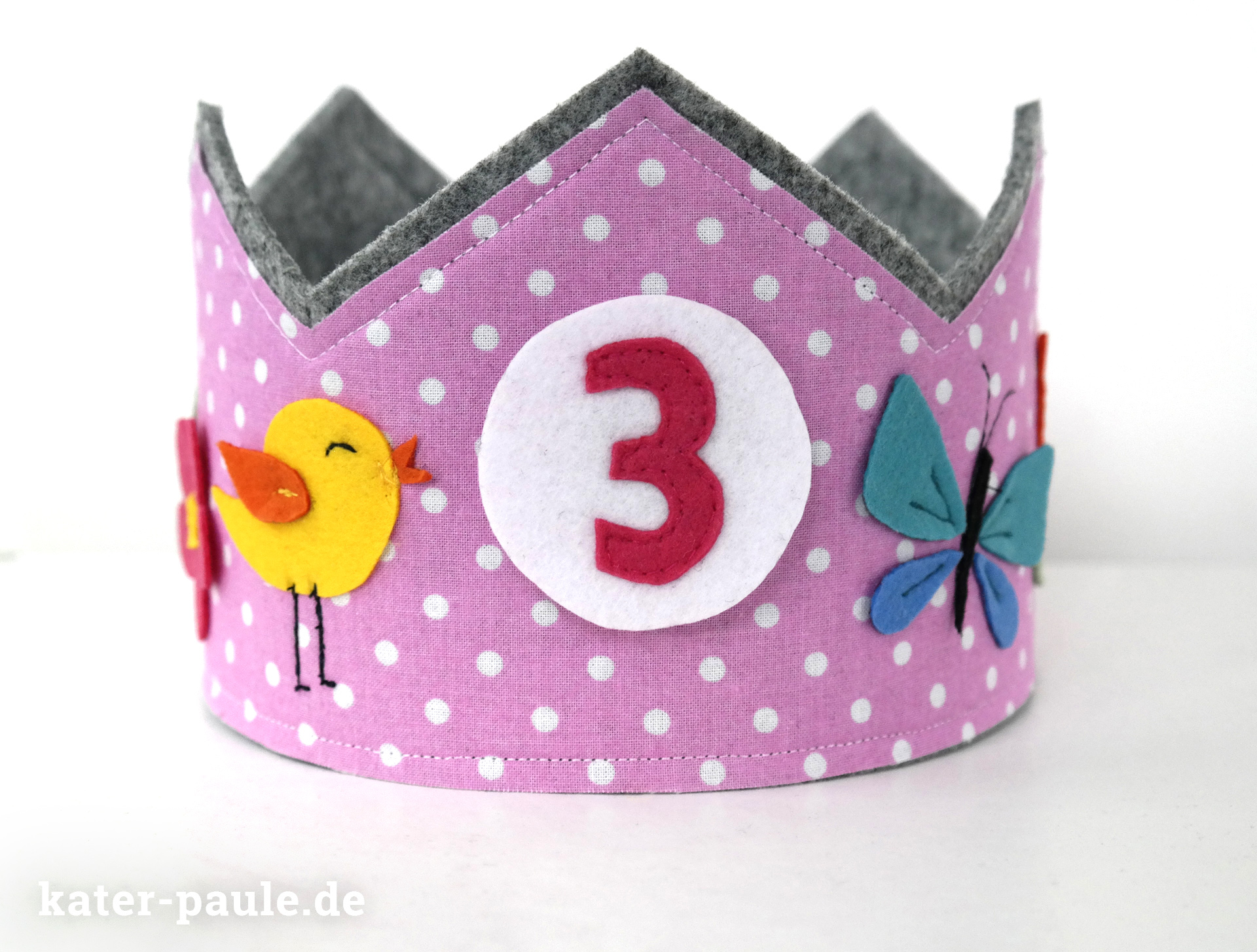 Geburtstagskrone aus Filz / birthdaycrown / felt crown/ Prinzessinenkrone / princess for a day / Krone für Mädchen / Freebook