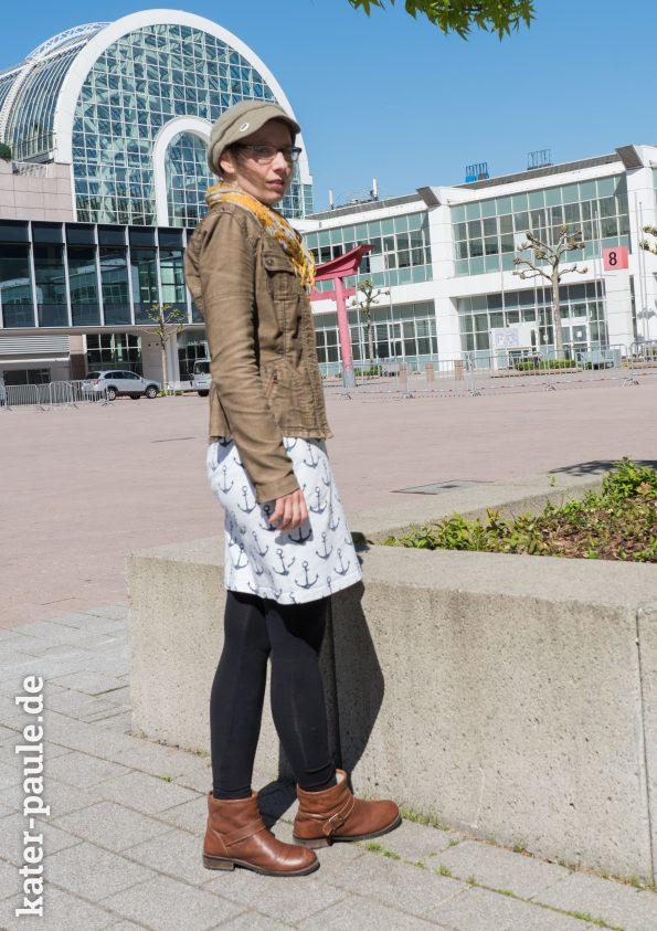 Sweatkleid Fine von Evlis Neddle aus Sommersweat Anker - Schnittmuster Nähen