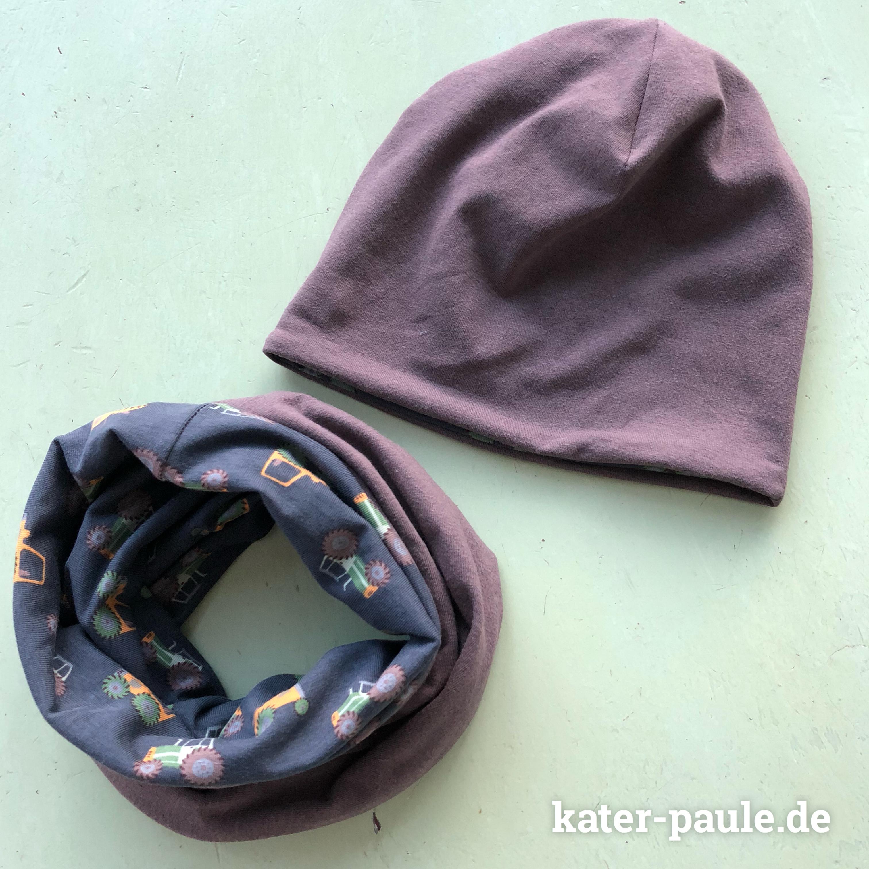 Kater Paule näht | Mütze / Wendebeanie und Loop / Schlauchschal nach dem Schnittmuster von Klimperklein aus Taktor Jersey