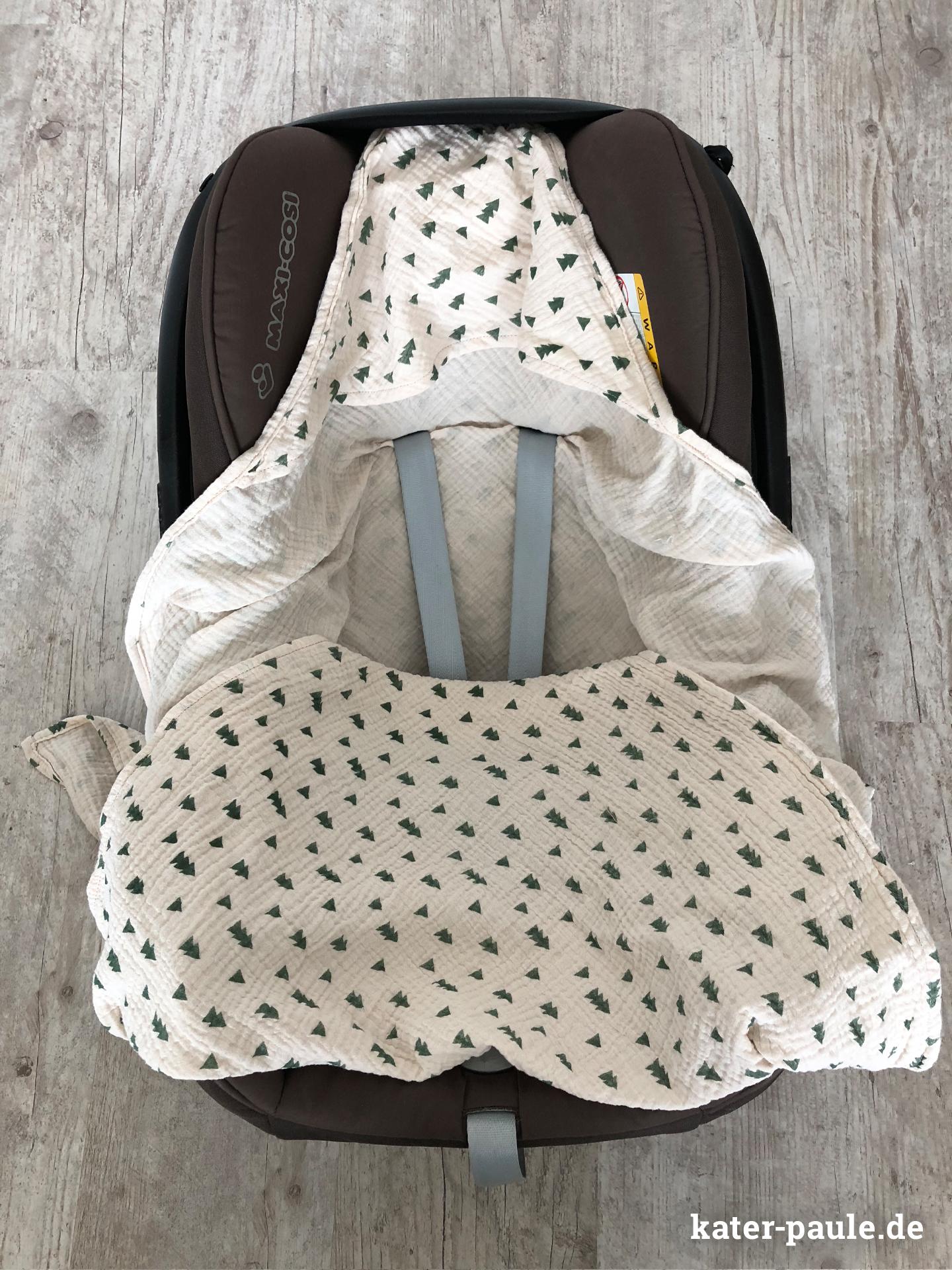 Einschlagdecke / Pucktuch für Babyschale / Maxi Cosi aus Musselin / Double Gauze mit Kapuze